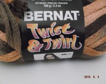 Bernat Twist & Twirl Yarn ~ Colour Almond Fudge ~ 100 Grams ~ 3.5 oz ~ #4 Med