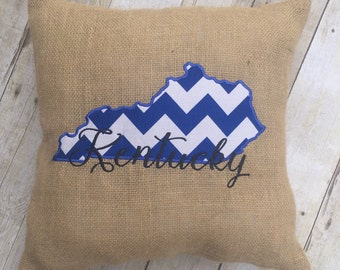 Kentucky Decorative Pillow, Kentucky Burlap Pillow