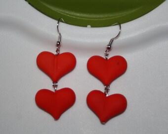 Red Double Heart Earrings
