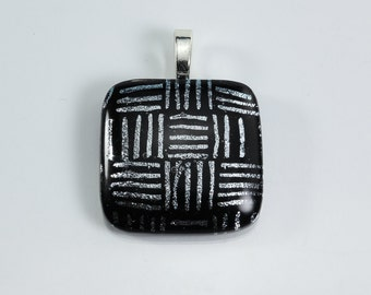 Black and Silver Fused Glass Pendant Dichroic Glass Pendant Lines Stripes Pendant