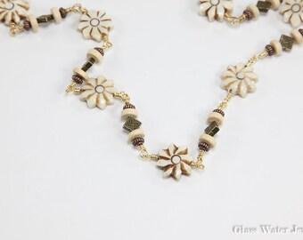 Beige Flower Carved Bone Necklace