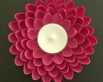 Cute Tealight Candle Holder - Pistachio Shell Flower - Pink