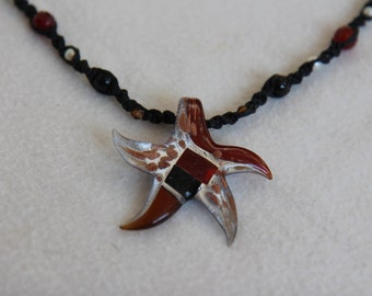 Thai Handcrafted StarFish Pendant Necklace Burgundy and Reds