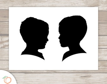 SIBLING DUO . silhouette . print . add on . must be purchased WITH portrait listing