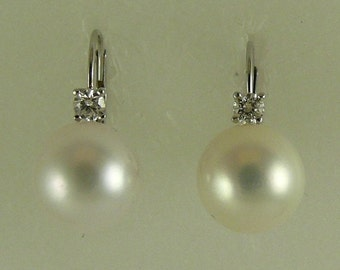 Akoya White 9.5 mm & 9.6 mm Pearl Earrings 14k White Gold with Diamonds 0.18ct