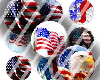 Digital Bottle Cap Collage Sheet - American Flag - 1 Inch Circles Digital Images for Bottlecaps