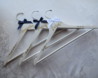white wedding wood hangers/ Personalized handlettered hanger/Bridesmaid gift hanger/calligraphy hanger/maid of honor hanger