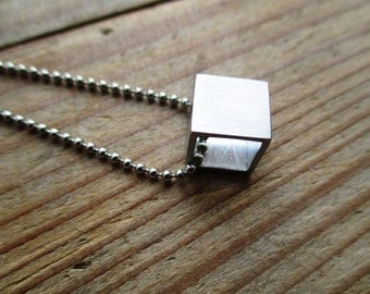 HANDMADE Aluminum square, cube to long necklace