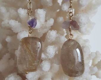 Silver earrings with quartz, fluorite