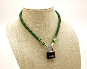 Leather BDSM Cord Collar in Green