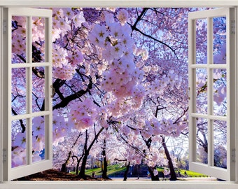 Spring 3D Window Wall Sticker, Spring Wall Decal, Wall Decor Spring