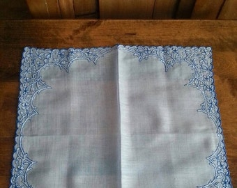 On Sale Gorgeous Bride Something Blue Wedding Handkerchief