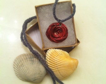 Red Rose Clay Necklace