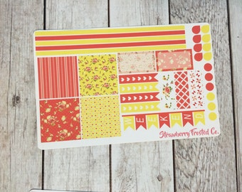Coral and Yellow Shabby Chic Themed Planner Stickers- Made to fit Horizontal Layout