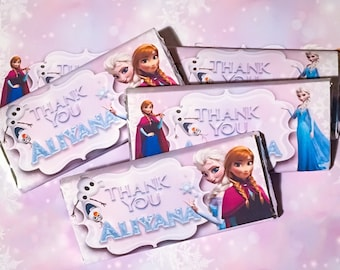 Frozen Printable Personalised Chocolate Wrapper Digital File