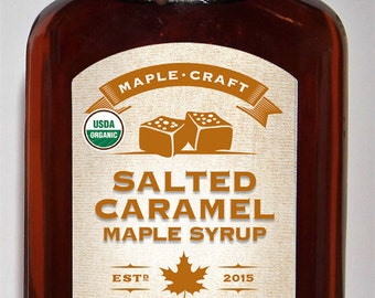 Organic Salted Caramel Maple Syrup (200mL bottle w/resealable, hand-dipped wax sealed top)