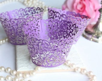 Purple Lace Filigree Cupcake Wrappers for Standard or MINI Cupcakes, Purple Shimmer Laser Cut Lace Cupcake Wrappers/Liners - Set of 12