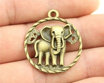 3 Elephant Charms, Antique Bronze Plated Charms (1F-22)