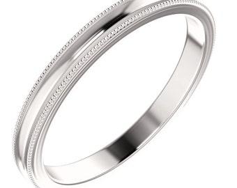 Milgrain Wedding Ring, Simple Gold Wedding Ring, Comfort Fit Milgrain Wedding Ring, 3mm Milgrain Wedding Band, 3mm Comfort Fit Ring