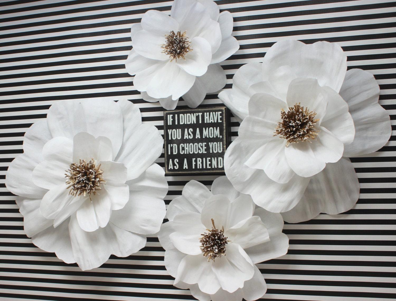 Crepe paper flower decor set traditional white paper flower for Crepe paper wall flowers