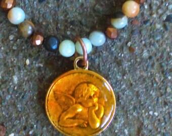 Angel Amonazite Beaded Necklace FREE domestic SHIPPING