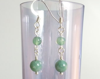 Silver plated Moss Agate Earrings