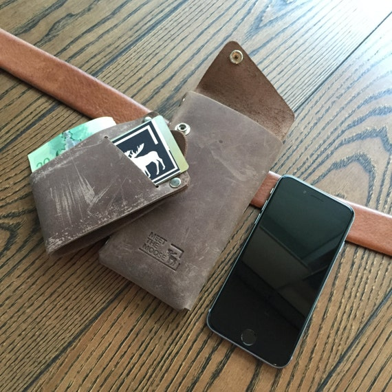 Espresso Brown Leather Holster Wallet, leather iphone 6 wallet, belt holster, belt wallet, leather phone holster, leather mens wallet