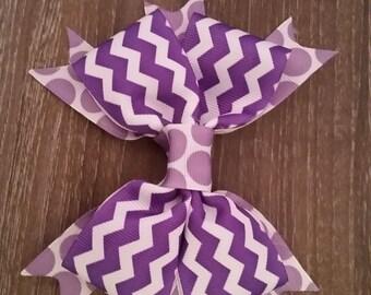 Purple Zigzag and Polka Dot Bow