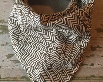 Baby bandana/drool baby bibs/abstract white and brown lines