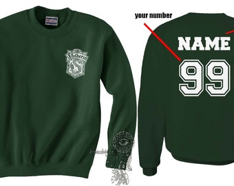 Custom back Slyth Crest #2 Pocket WHITE print on Forest green Crew neck Sweatshirt