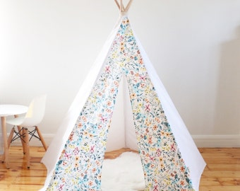Teepee, floral pink yellow blue orange  playtent, kids, girls teepee, tipi includes wooden poles