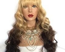 "Blonde to Brown Ombre Wavy Full Wig 20"" Heart | Sunshine Minaj"
