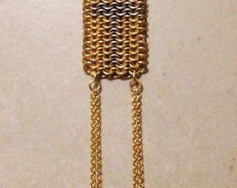 Cross Long Necklace, Gold & Oxidized Silver Long Necklace. FREE SHIPPING
