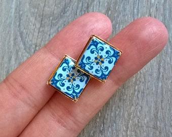 Portuguese antique tile stud earrings, miniature antique tiles replica, Portuguese tiles, Portuguese jewelry, stud earrings, azulejos, tiles