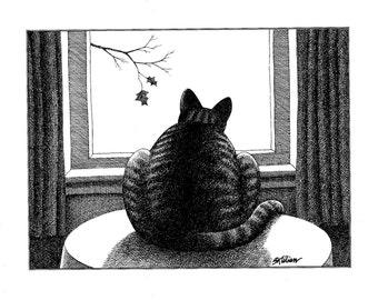 Kliban Cat Original Vintage Art Print,Vintage Book Plate,Funny Cat Art Print, Kliban,Home Décor,Wall Hanging,Lazy Cat Print,Funny Cat Art