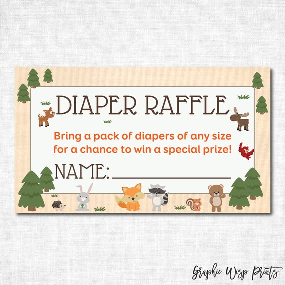 woodland diaper raffle ticket printable by graphicwispprints