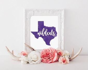 Abilene Christian University Watercolor State Printable (8x10)
