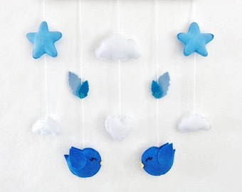 baby mobile or wall decoration . baby crib mobile or room decoration . birds love, cloud, stars