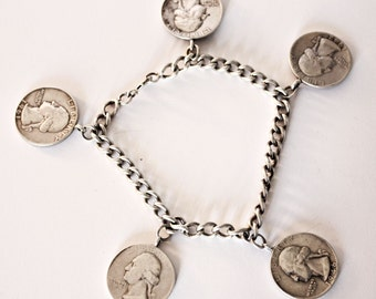 Vintage Sterling Silver Coin Charm Bracelet 47 Grams