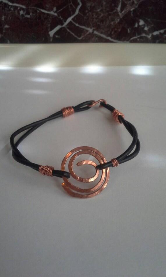 Hand hammered copper leather bracelet, hand hammered copper bracelet, leather bracelet, bohemian leather bracelet, unisex bracelet, jewelry