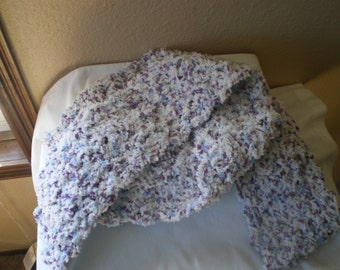 Extra Long Fluffly White and Lavender Scarf