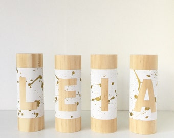 SPLATTER (SIMPLE) Letterpillar Personalised Name Blocks, Wooden Name Blocks, Baby Name Blocks, Custom Personalised Personalized Name Blocks