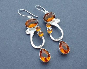 CITRINE Dangle Earrings - 925 Sterling SIlver Drop & Dangle Earrings - CIRTINE hydro Earrings - Multi Gemstone Earrings - Wedding Jewellery