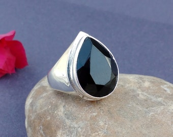 BLACK ONYX Ring - Size 9 Ring - 925 Sterling Silver Ring - ONYX Silver Ring - Valentine Gift