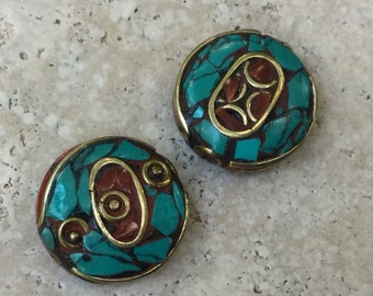 Tibetan Brass, Turquoise and Coral Bead