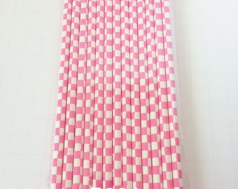 25 PAPER STRAWS SQUARE Hot Pink