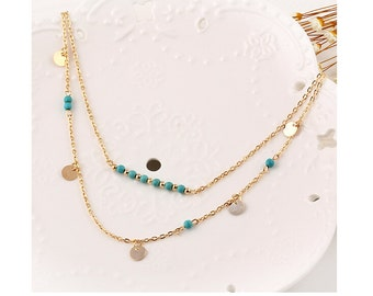 Gold Double Layered Necklace, bohemian necklace, Gold Layered Necklace, Boho necklace, Two Layered Necklace, Gold Coin, Turquoise Beads