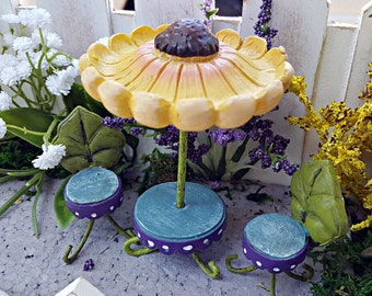 Miniature Table with Sunflower Umbrella and Leaf Chairs - Set of 3