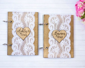 Wedding Vow Book Rustic Wedding Vow Books Bride and Groom Vows Book Wooden Wedding Book Set of 2 Wedding decor
