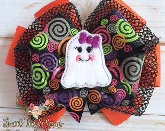Girls Halloween Bow - Girls Halloween Stacked Hairbow - Halloween Boutique Bow - Toddler Ghost Halloween Bow - Girls Over the Top Halloween